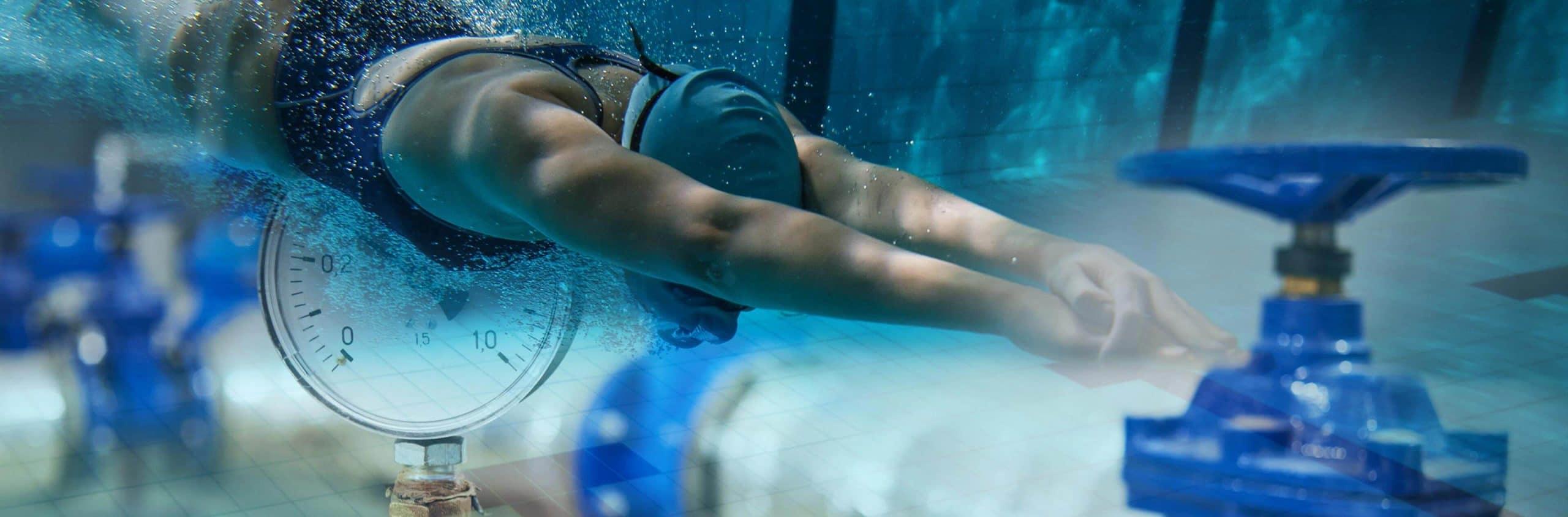Zusammengesetztes Bild Schwimmer unter Wasser und Wasserpumpenstation